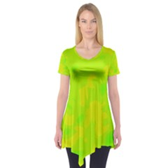 Simple yellow and green Short Sleeve Tunic