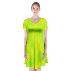 Simple yellow and green Short Sleeve V-neck Flare Dress
