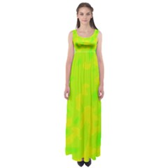Simple yellow and green Empire Waist Maxi Dress
