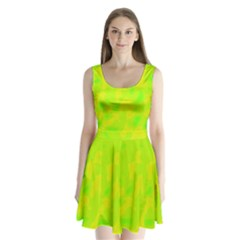 Simple yellow and green Split Back Mini Dress