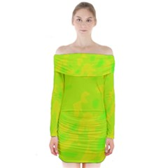 Simple Yellow And Green Long Sleeve Off Shoulder Dress