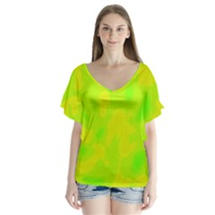 Simple yellow and green Flutter Sleeve Top