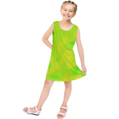 Simple yellow and green Kids  Tunic Dress