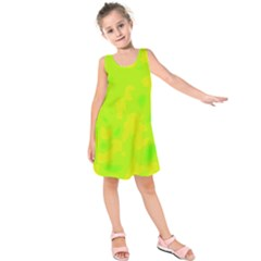 Simple yellow and green Kids  Sleeveless Dress