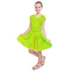 Simple Yellow And Green Kids  Short Sleeve Dress