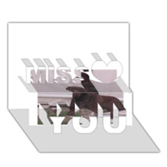 Chocolate Lab Laying Miss You 3D Greeting Card (7x5)