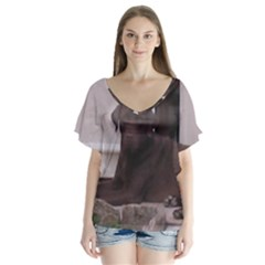 Chocolate Lab Laying Flutter Sleeve Top