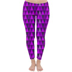 Purple Triangles Winter Leggings