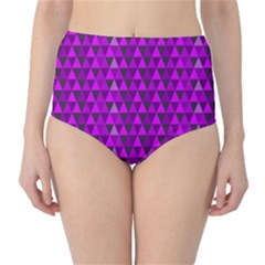 Purple Triangles High-Waist Bikini Bottoms