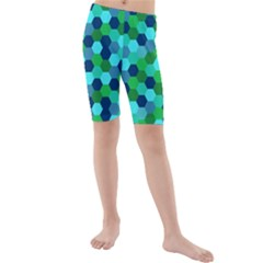 Camo Hexagons in Blue Kids  Mid Length Swim Shorts