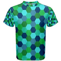 Camo Hexagons In Blue Men s Cotton Tee
