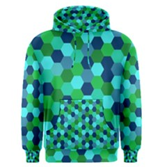 Camo Hexagons In Blue Men s Pullover Hoodie