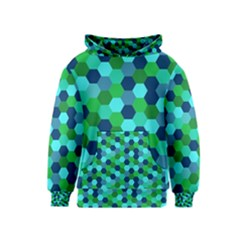 Camo Hexagons in Blue Kids  Pullover Hoodie