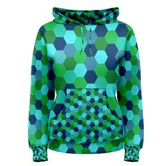 Camo Hexagons in Blue Women s Pullover Hoodie
