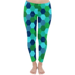 Camo Hexagons in Blue Winter Leggings