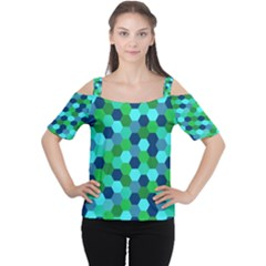 Camo Hexagons in Blue Women s Cutout Shoulder Tee