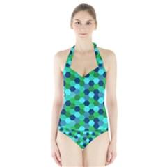 Camo Hexagons in Blue Halter Swimsuit
