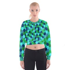 Camo Hexagons in Blue Women s Cropped Sweatshirt