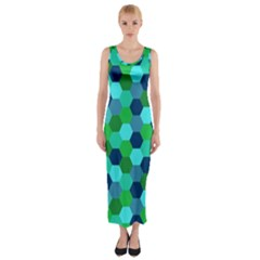 Camo Hexagons In Blue Fitted Maxi Dress