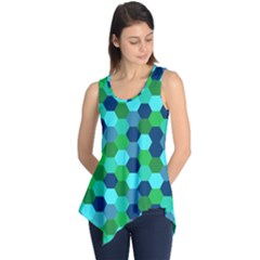 Camo Hexagons in Blue Sleeveless Tunic