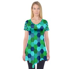 Camo Hexagons In Blue Short Sleeve Tunic