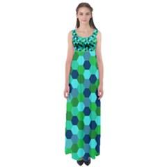Camo Hexagons in Blue Empire Waist Maxi Dress