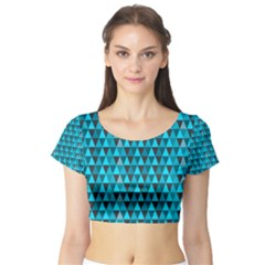 Blue Triangles Short Sleeve Crop Top (tight Fit)