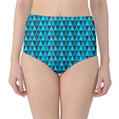 Blue Triangles High Waist Bikini Bottoms