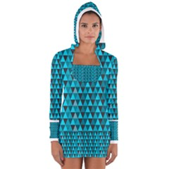 Blue Triangles Women s Long Sleeve Hooded T-shirt