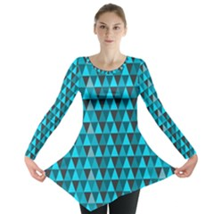 Blue Triangles Long Sleeve Tunic