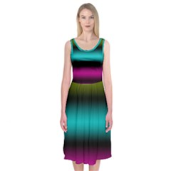 Dark Green Mint Blue Lilac Soft Gradient Midi Sleeveless Dress