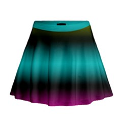 Dark Green Mint Blue Lilac Soft Gradient Mini Flare Skirt