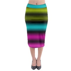 Dark Green Mint Blue Lilac Soft Gradient Midi Pencil Skirt