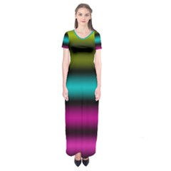 Dark Green Mint Blue Lilac Soft Gradient Short Sleeve Maxi Dress