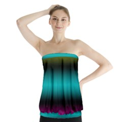 Dark Green Mint Blue Lilac Soft Gradient Strapless Top