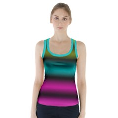 Dark Green Mint Blue Lilac Soft Gradient Racer Back Sports Top