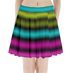 Dark Green Mint Blue Lilac Soft Gradient Pleated Mini Skirt
