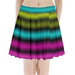 Dark Green Mint Blue Lilac Soft Gradient Pleated Mini Skirt