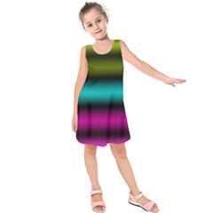 Dark Green Mint Blue Lilac Soft Gradient Kids  Sleeveless Dress