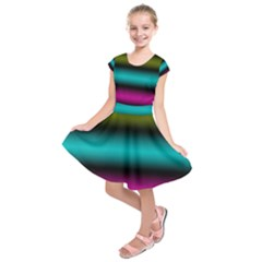 Dark Green Mint Blue Lilac Soft Gradient Kids  Short Sleeve Dress