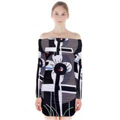 Dark Long Sleeve Off Shoulder Dress