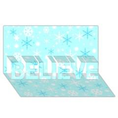 Blue Xmas pattern BELIEVE 3D Greeting Card (8x4)