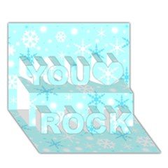Blue Xmas pattern You Rock 3D Greeting Card (7x5)