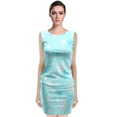 Blue Xmas Pattern Classic Sleeveless Midi Dress