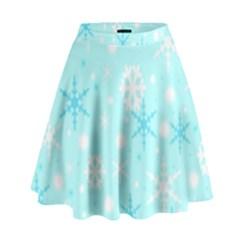 Blue Xmas pattern High Waist Skirt