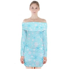 Blue Xmas pattern Long Sleeve Off Shoulder Dress