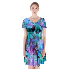 Blue On Purple Vintage Flowers Short Sleeve V Neck Flare Dress