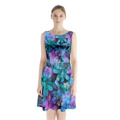 Blue On Purple Vintage Flowers Sleeveless Chiffon Waist Tie Dress