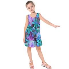 Blue on Purple Vintage Flowers Kids  Sleeveless Dress