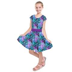 Blue on Purple Vintage Flowers Kids  Short Sleeve Dress